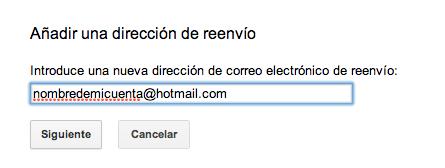 Añadir dirección de reenvío hotmail