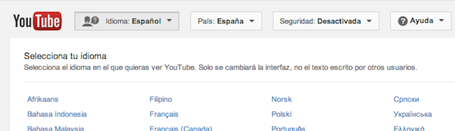 cambiar idioma YouTube