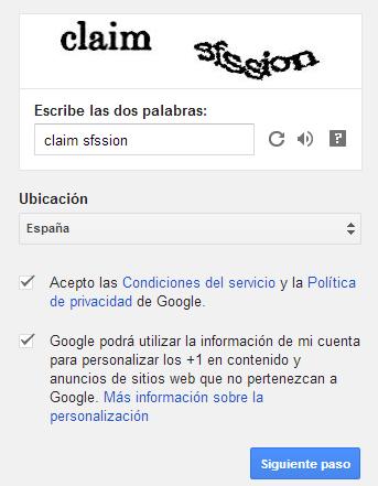 Captcha cuenta Google