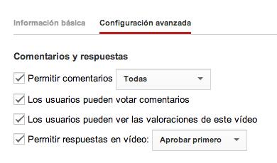 Configuración avanzada YouTube