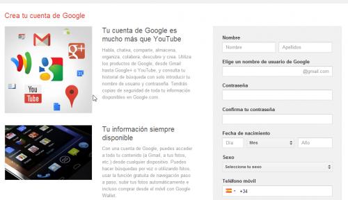 Crear cuenta Google