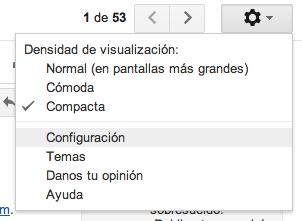 Opciones configuración Gmail
