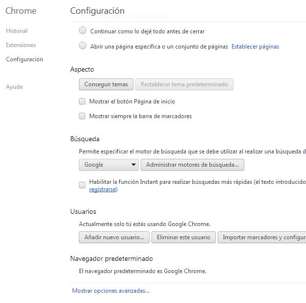 Opciones generales Chrome