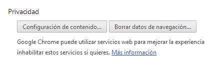 Opciones privacidad Chrome