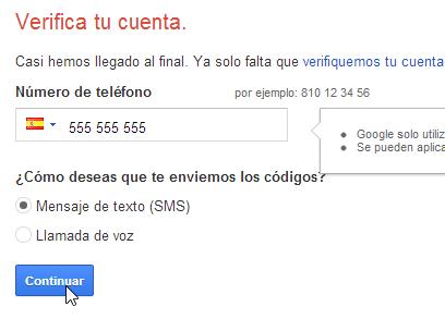 Verificar por teléfono Google Cuenta