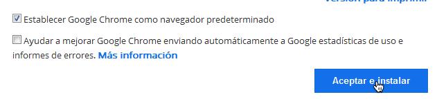 Aceptar instalar Chrome
