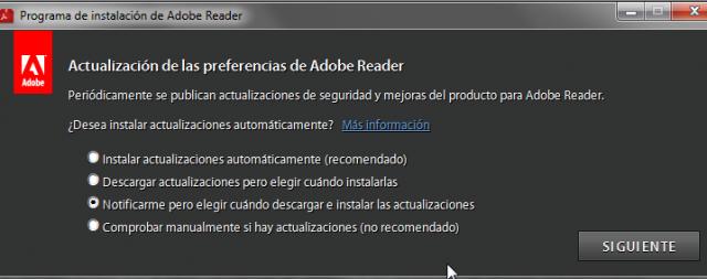 Actualizaciones Adobe Reader