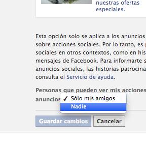 Anuncios de Facebook Privacidad