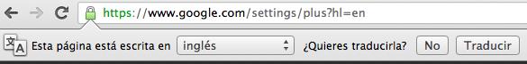 Barra de traducción de Chrome