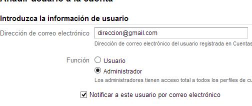 Crear administrador Analytics