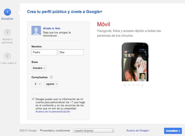 Crear cuenta en Google Plus
