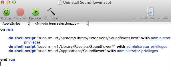 Script desinstalar Soundflower