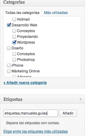 Etiquetas Categorias WordPress