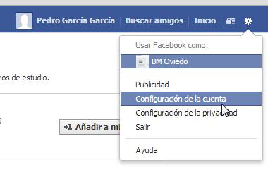 Facebook configuración de cuenta