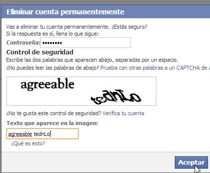 Confirmar borrar cuenta de Facebook