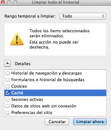 Firefox Mac Limpiar Caché