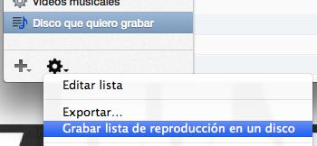 Grabar lista de reproducción en iTunes