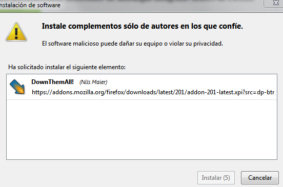 Instalar complemento Firefox