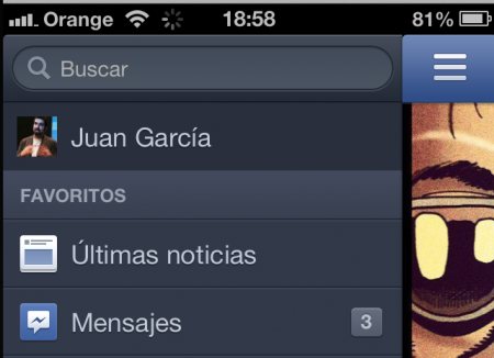 Ir al perfil Facebook iPhone