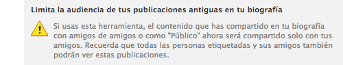 Limitar audiencia publicaciones Facebook