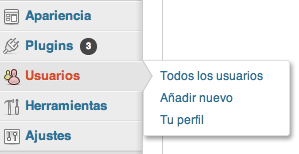 Menu usuarios WordPress