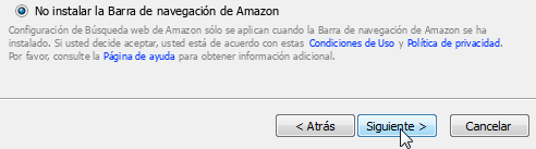 No quiero instalar la barra de Amazon