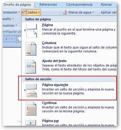 Opciones salto orientación página Word