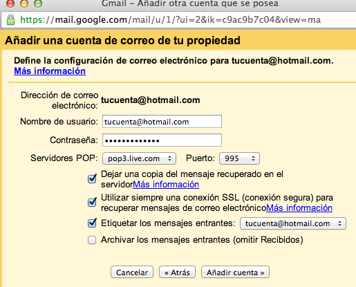 Opciones pop3 Gmail