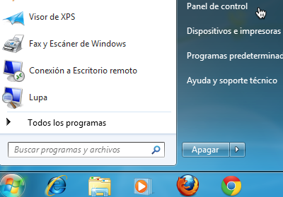 Panel de control Windows
