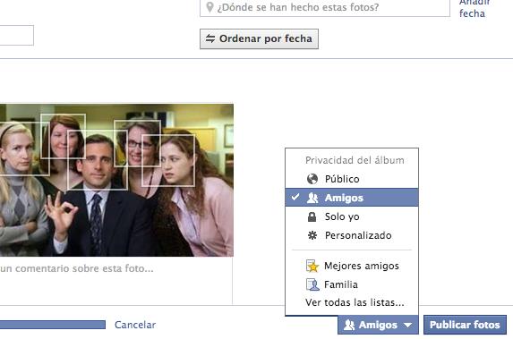 Privacidad album Facebook