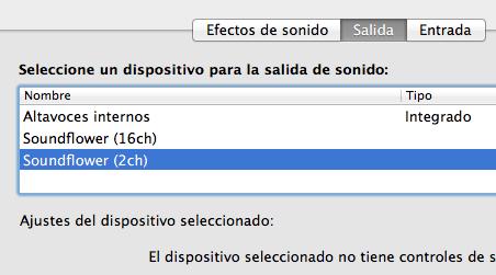 Salida soundflower Mac
