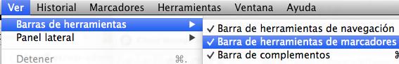 Barra marcadores Firefox Mac