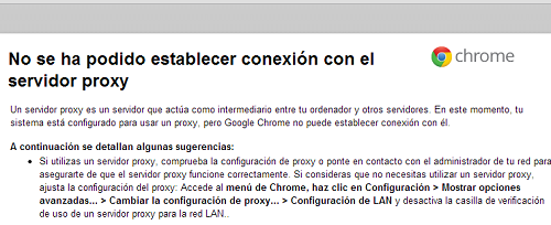 Problemas con proxy en Chrome