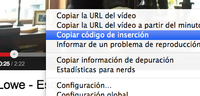 Código embed YouTube