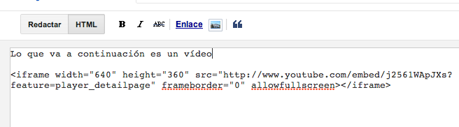 Youtube en Blogger HTML