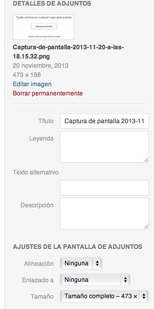 Wordpress opciones de imagen