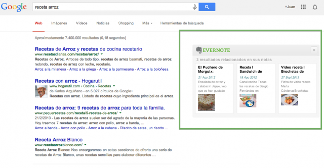 Resultados relacionados evernote en google