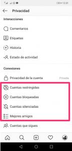 opciones de privacidad Instagram
