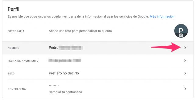 Cambiar nombre cuenta Gmail